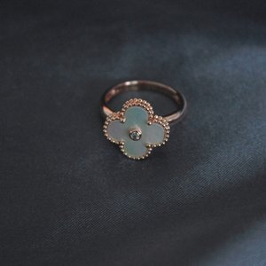 Women Natural Mother of Pearl Rings Clover Ring Woman Rose Gold Ring Wedding Party Charm Jewelry Ins Hot