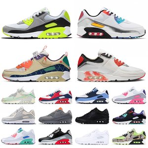 nike air max airmax 90 90s scarpe da corsa di grande formato Uniti 12 delle donne degli uomini di sport classici scarpe da ginnastica bianche fuori l'aria nera trianers Eur 46