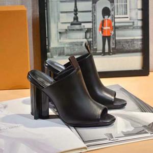Классика Женские тапочки мода пляж густые нижние тапочки алфавит Леди сандалии кожаные туфли на высоком каблуке 03 L160 07
