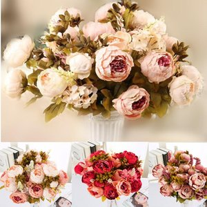 1 Bouquet 13 heads artificial peony silk flower Artificial Flowers Fall Vivid Peony Fake Leaf Wedding Home Party Xmas Decoration