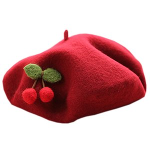 Solid Cute Cherry Beret Women Basque French Artist Wool Beret Stretch Slouch Cap Top Hat Autumn Winter Beanies Beret Hat