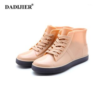 Dadijier Fashion Brand Women Boots Lace-Up Botas de lluvia PISOS SÓLIDOS PISOS CASOS Roble Jelly Zapatos impermeables FM101