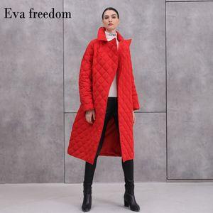 Eva Freedom Damas Chaqueta 2020 Winter Diamond Plaid Europea y American Style Long Belt Long Tamaño Talla grande Chaqueta de grosor Mujeres Mujeres Z1202