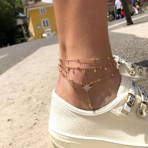 Fashion Women Anklets Round Crystal Octagon Star Beads Chain Pendant Gold Anklet Set Female Exquisite Summer Jewelry Accessories