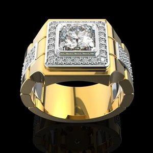 Lujo 14k oro blanco anillo de diamante para hombres moda bijoux femme joyería piedras de gemas naturales bague homme diamante anillo machos