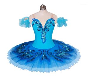 Stage Wear Blue Swan Lake Ballet Costume Adult Child Professional Tutu Competition Dress Pancake Ballerine For Girls Skating Costumes1
