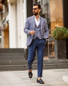 Customized New Arrival Men Suits Slim Fit Peaked Lapel Wedding Suits For Men With Pants Weskit Designer Groom Tuxedos Blazer