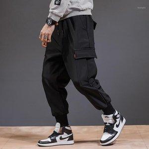 Pantalons Hommes Men Cargo Noir 2021 Printemps et automne Style coréen Style Coréen Coton Poches de coton Adolescent Boy Hip Hop1