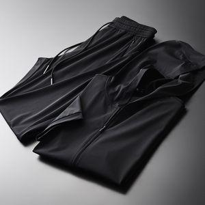Summer Men Sets (jacket+pants) Luxury Hooded Zipper Short Sleeve Jacket Mens Sets Plus Size 4xl Slim Man Sets With Pants B1205