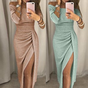 Sexy Maxi Elegant Dresses Summer Women Slit Evening Party High Waist Off Shoulder Slip Silk Long Dress Party Club