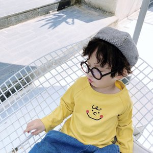 Korean style cartoon Wacky smiling face cotton T shirts for children baby boys girls casual all-match Tees Tops Z1121