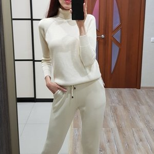 GIGOGOU Long Sleeve Women's Knitted Sweater Suit Autumn Winter Woman Turtleneck Costume Sweater Two Piece Set Tracksuits Pull 201124
