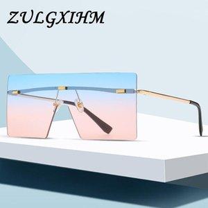 Zulgxihm Übergroße Braune Sonnenbrille 2021 Frauen Retro Vintage Sonnenbrille Randlose Eyewear1