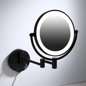 Specchi di trucco Specchi Nero Montaggio a parete LED Pieghevole Pieghevole Doppia lato LED Specchio LED 3 x 5x 10x Specchio da bagno di ingrandimento