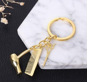 Decorative Keychains Hairdressers Gift Comb Scissors Hair Dryer Car-styling Interior Accessories Car Key Rings Keyring