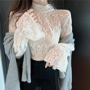 Coréen solide manches longues femmes en mousseline de mousseline de soie et blouses dames vintage décontracté turtleneck dentelle flare chemise blusas mujer