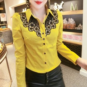 2020 New Spring Korean Clothes Embroidery Blouse Womon Patchwork Mesh Diamonds Woven Nylon Shirt Women Long Sleeve Tops T02504