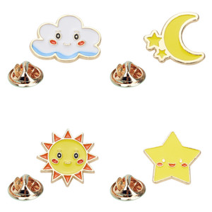 Cartoon Star Moon Sun Clouds Brooch Pins Set Funny Alloy Enamel Gold Plated Brooches for Boys Girls Christmas Gift Badges Bag Shirt Pin