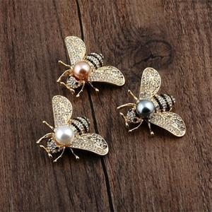 Broches d'abeille Crystal Clear Perle Pour Femmes Unisexe Insecte Broche Broche Pinques Mignonnes Petites Badges Fashion Robe Coat Accessoires Bijoux