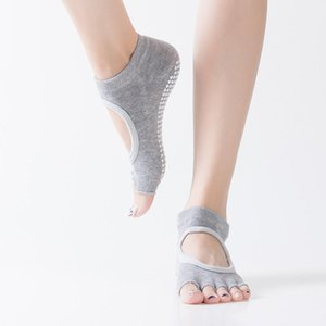 Women Yoga Dance Backless Five Toe Anti-Slip Ankle Grip Socks Dots Pilates Fitness Gym Socks Ladies Sports