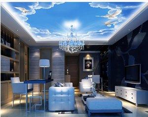 Fashion dream bar KTV blue sky and white cloud ceiling mural sky ceiling wallpaper
