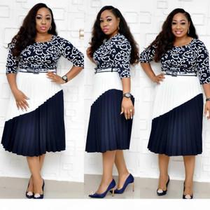 Summer stylish African apparel Dashiki commutes style Dashiki a-line dress with flat-neck medium sleeve print