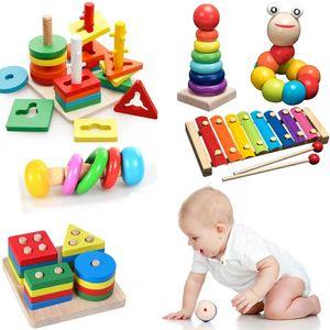 Kids Montessori jouets en bois Rainbow Blocks Kid apprentissage Jouet Jouet Baby Dattles Graphique Coloré Blocs en bois Coloré Jouet éducatif