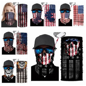 Skull Magic Scarves American Flag Bandana Half Face Mask National Flags Headband Turban Ski Camo Cycling Mask CYZ2948
