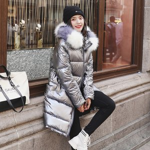 New Fashion Waterproof Glossy Down Parkas Womens Winter Jackets Warm Big Fur Collar Windproof Ladies Medium Long Hooded Coats 201123