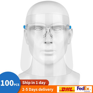 2-5 Days Fast Shipping Safety Face Shield Glasses Reusable Goggle Faceshield Visor Transparent Anti-Fog Layer Protect Eyes from Splash