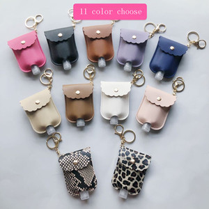 PU Leather Sanitizer Keychain Bag With 30ML Leopard Hand Soap Bottle Holder Pendants Cover Storage & Organization HH9-3675 11 COlors