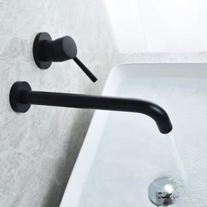 Wall Mounted Latão torneira Bacia Single Handle Mixer Tap Hot Fria Banho de água por atacado Bath Matte Black Bath Set torneira