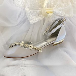 Womens Satin Bridal Wedding Flats Ankle Strap Pointed Toe Elegant Ballet for Guest Reception Occational Dressing Shoes