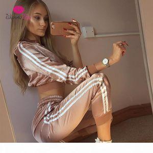 WannaThis 2017 Autumn Winter Satin Sets Women Zipper Side Stripe Crop Tops Drawstring Calf Length Pants Sexy Workout Tracksuits