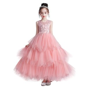 Girls designer dress fashion princess dress children trend breathable lace mesh flower dress children designer clothing long