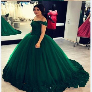 2021 Cheap Emerald Green Off shoulder Lace Quinceanera Prom Dresses Ball gown Appliques Corset Back Sweet 16 Dress For Girls Party Cheap New