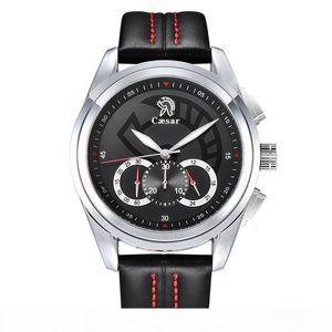 Fashion Luxury caesar Leather Strap Quartz Chronograph Waterproof Rose gold Male Sports Mens Watches Brand Wristwatch Watch Men