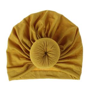 طفل دونات القبعات الوليد مطاطا القطن الطفل قبعة قبعة القوس متعدد الألوان الرضع العمامة القبعات الطفل عقال GWD4350