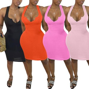 Sexy Sleeveless Women Casual Dresses Fashion Solid Color Deep V Neck Slim Bodycon Dress Womens Summer Designers Clothes