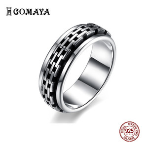 GOMAYA Real 925 Sterling Silver Fashion Gothic Vintage Rock Punk Cocktail Finger Rings Fine Jewelry Gift Unisex Wholesale Z1202
