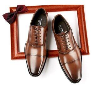 Трехместный сустав ручной работы мужская натуральная кожа Официальные туфли Cap Toe Oxford Итальянские резные платье обувь для деловых людей DA38
