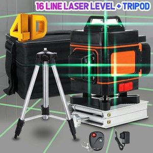 4D Lazer Seviyesi 16 Çizgiler Yeşil Işık Otomatik Kendini Seviyelendirme 360 ° Döner Çapraz Ölçü