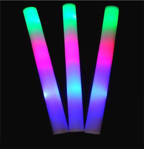 Light Stick Flashing LED Up Foam Glow Light Sticks Rainbow Color LED Sticks Glow Sponge Stick For Concert Wedding Birthd