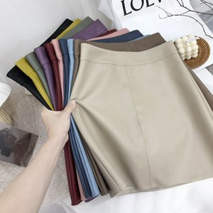 High waist short female autumn and winter simple A-line leather skirt Z1122