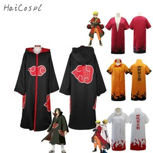 Anime Naruto Akatsuki Cosplay Costume Halloween Costumes Uchiha Itachi Cloak Deidara Black Cape Party Disguise Adult Outfit LJ200930