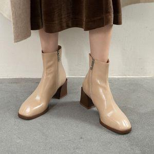 Hot Sale FEDONAS Square Toe Demi-Season Boots For Women Side Zipper Fashion Winter Shoes Woman Heels Wedding Working High Heels Boots