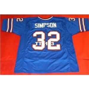 121 Vorder- und Rückmantelgewebe blaue OJ Simpson Hohe qualität Full Stickerei College Jersey SZ S-4XL oder benutzerdefinierte Name oder Nummer Jersey