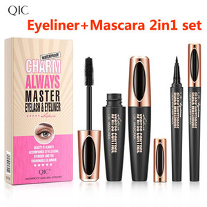 4D Eyeliner + Maskara 2in1 grubu Eyeliner Maskara Makyaj grubu 4D ipek fiber maskara Uzatma