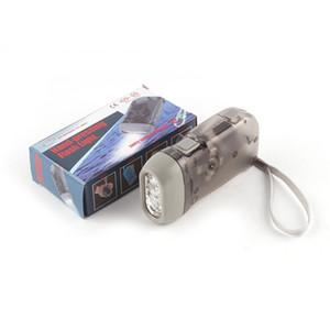 Outdoor 3 LED Hand Press Não Bateria Wind Up Dynamo Dynamo Lanterna Luz Tocha Camping Portátil Flash Light