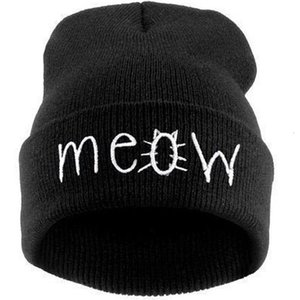Meow cat wool hip hop knitting hat T6K4
